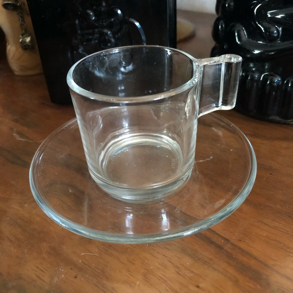 Vintage Clear Glass Demi Cup & Saucer Made in ITALY